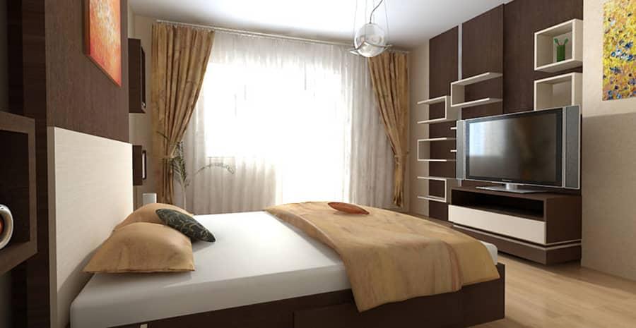 Спальня в бежевом цвете дизайн
