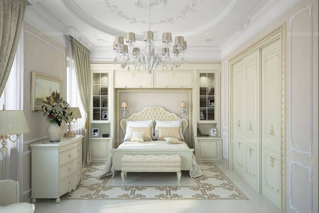 Дизайн спальни классика в светлых тонах